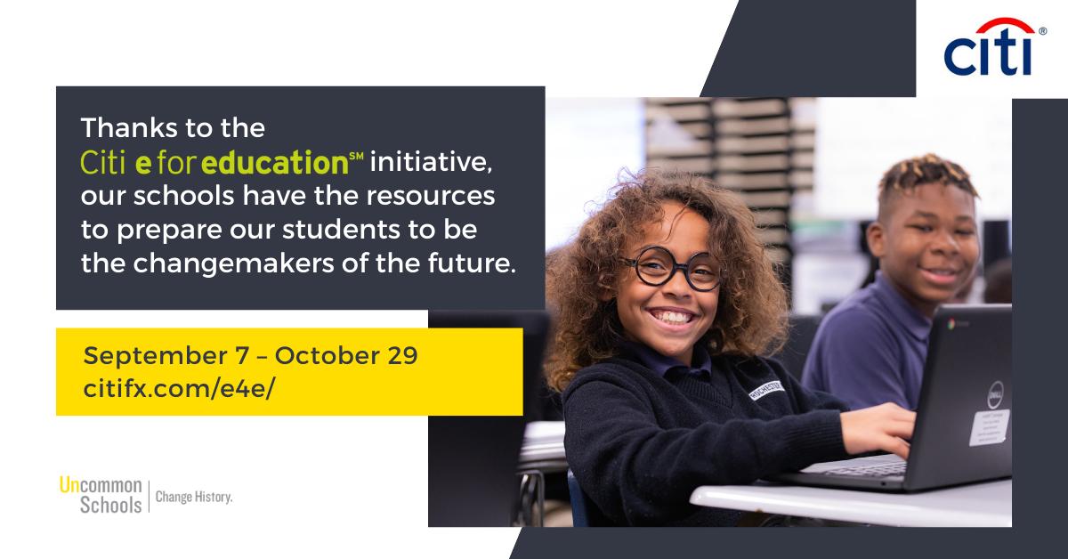 Citi e for education campaign runs September 7 to October 29.