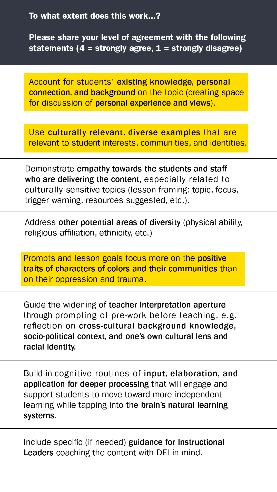 Excerpt of feedback survey for assessing curriculum with the DEI Lens Tool